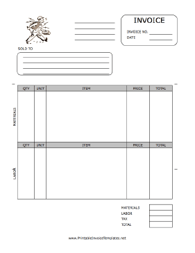 electrical work invoice template  Electrician Invoice Template