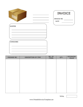 Personal Effects Invoice Template
